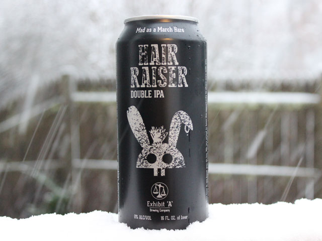 Hair Raiser, a Double IPA brewed by Exhibit A Brewing