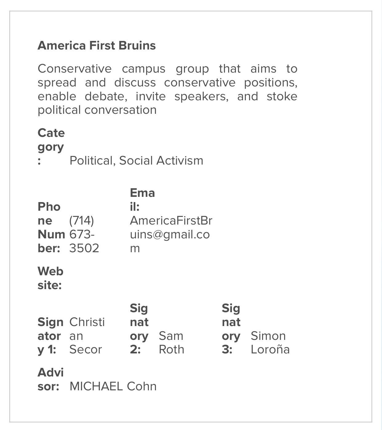 UCLA student organization registry confirms AF Bruins official recognition