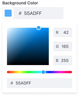 Color picker at its restricted version where only a color edition panel is shown