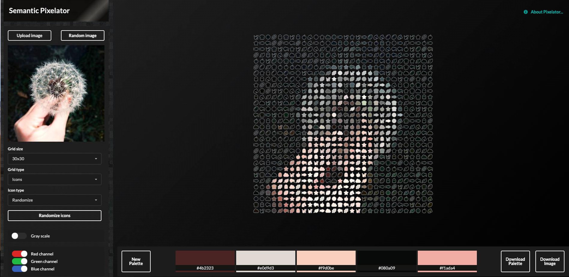 Screenshot from Semantic Pixelator app