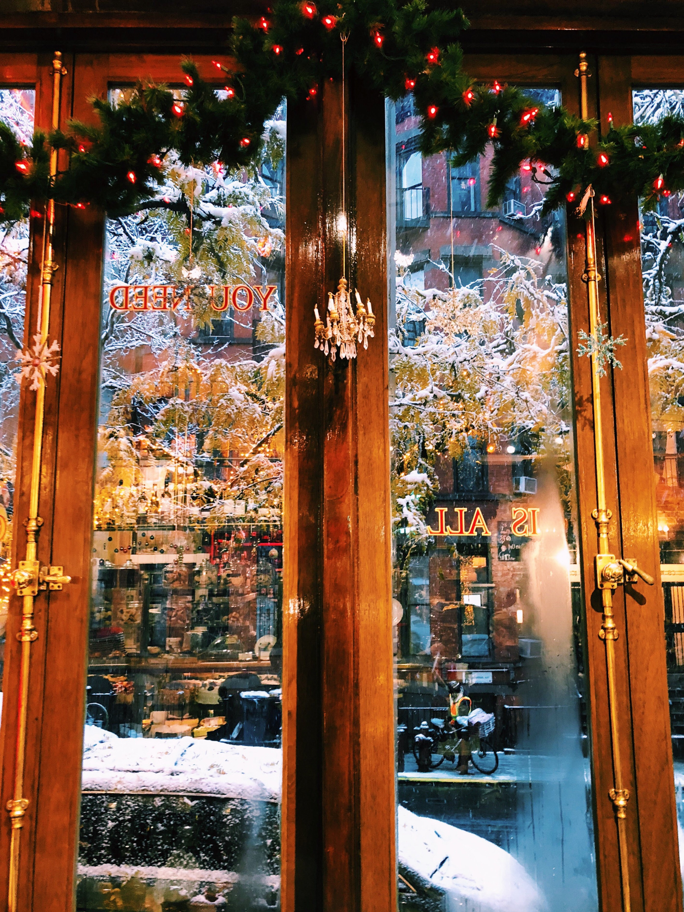 Christmas window at Cafe Lalo