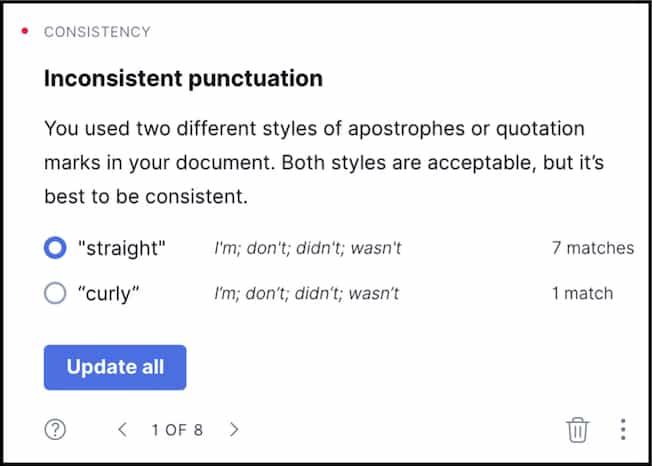 Grammarly punctuation alert.