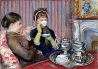 'Tea' painted by Mary Cassatt, 1880, oil on canvas, 25½ × 36¼ in., Museum of Fine Arts, Boston