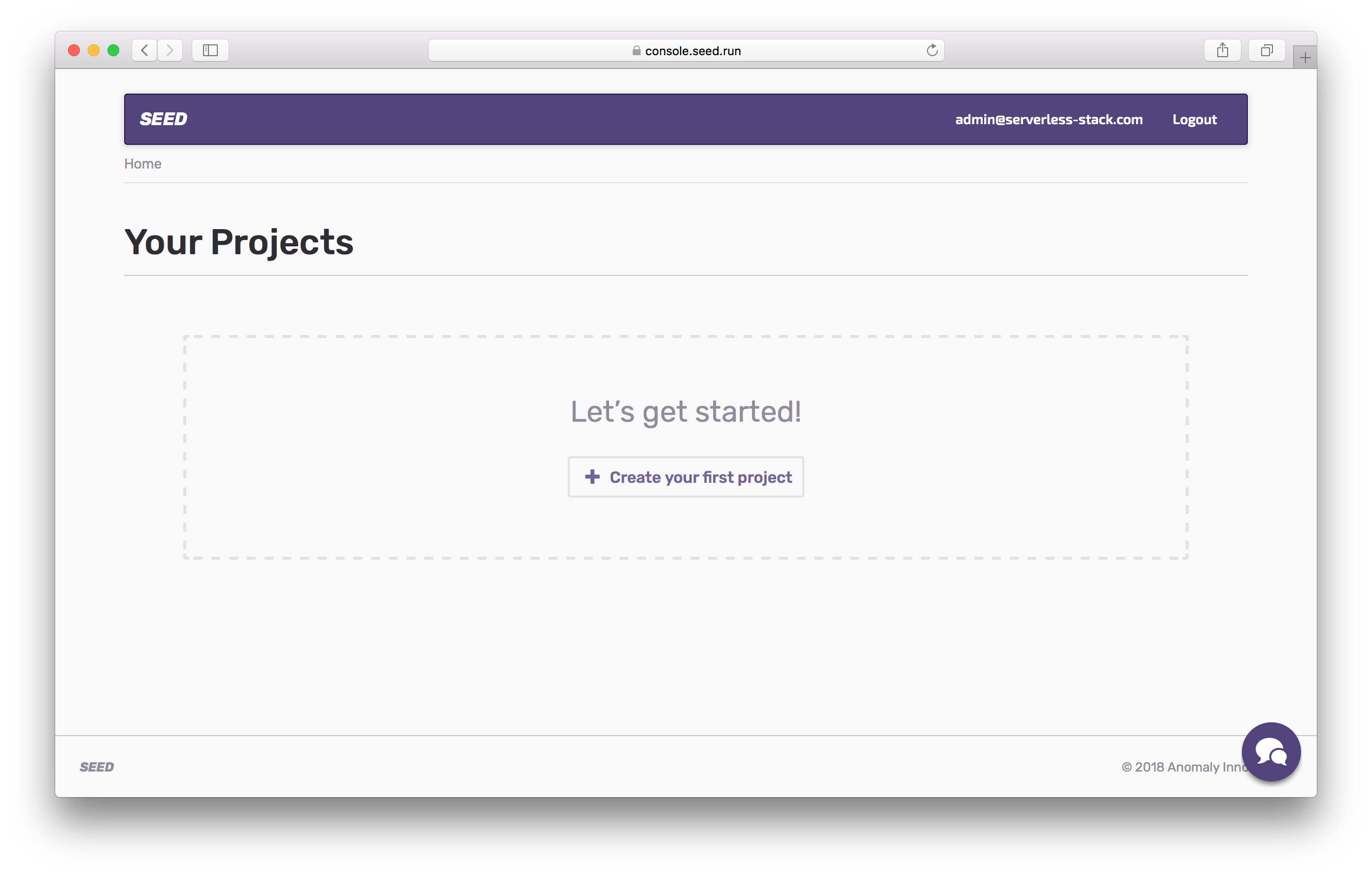 Create your first Seed project screenshot