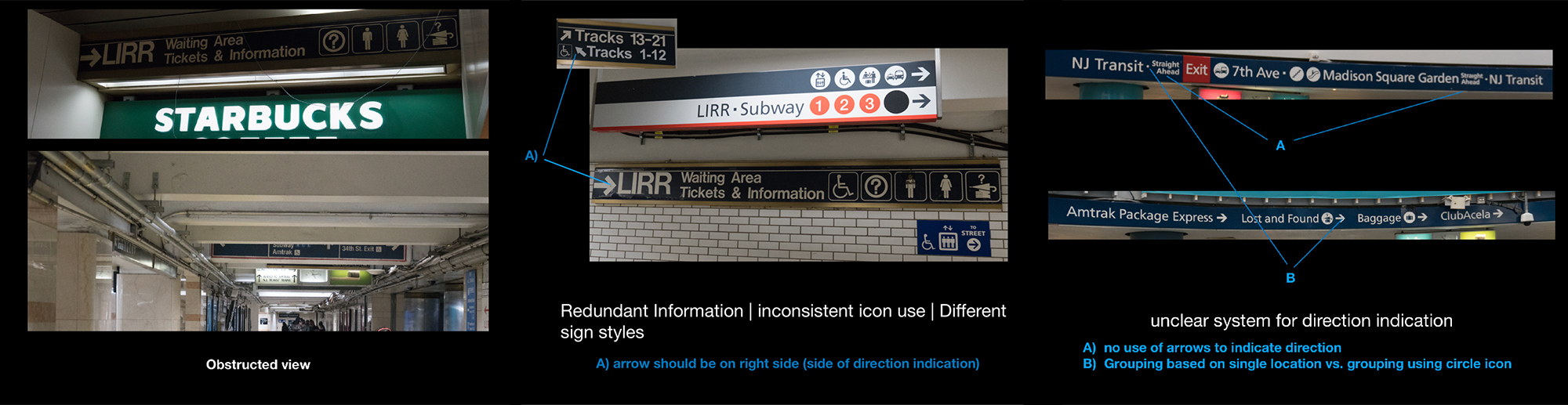 Call outs of various issues in signage communication and visibility