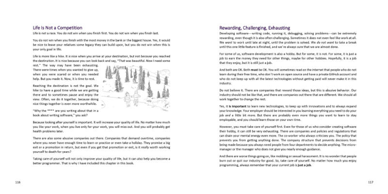 Two pages from the book: Chapter life is not a competition