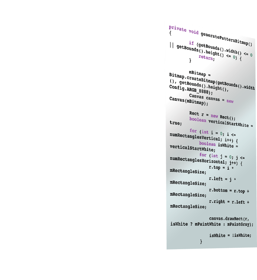 An extruded image of some of the code used to develop the Afterlight Android app
