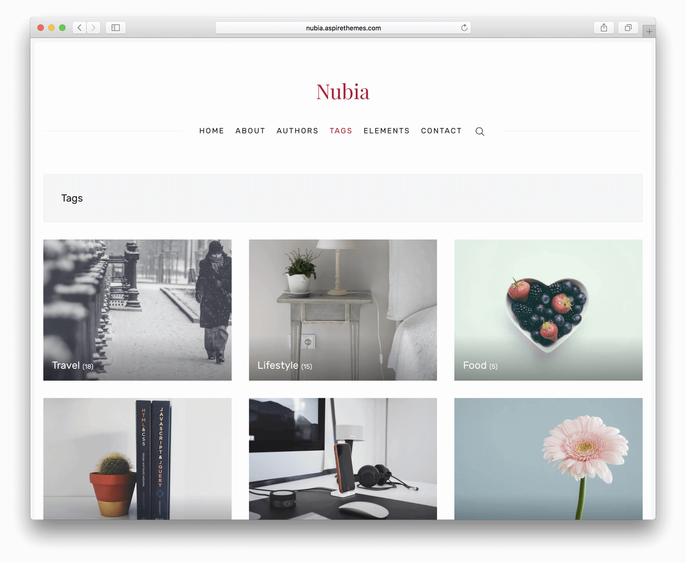 Ghost Nubia Theme Tags Page