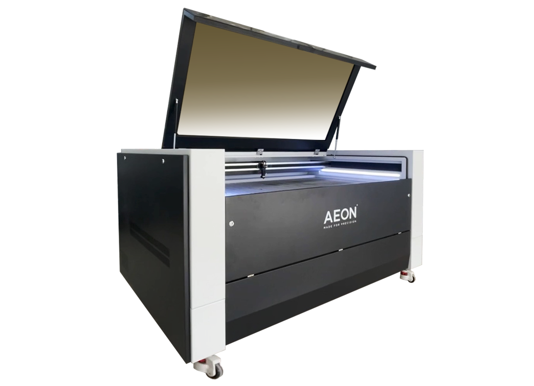 Aeon Super Nova Laser Cutter & Engraving Machine, view from left side with open lid