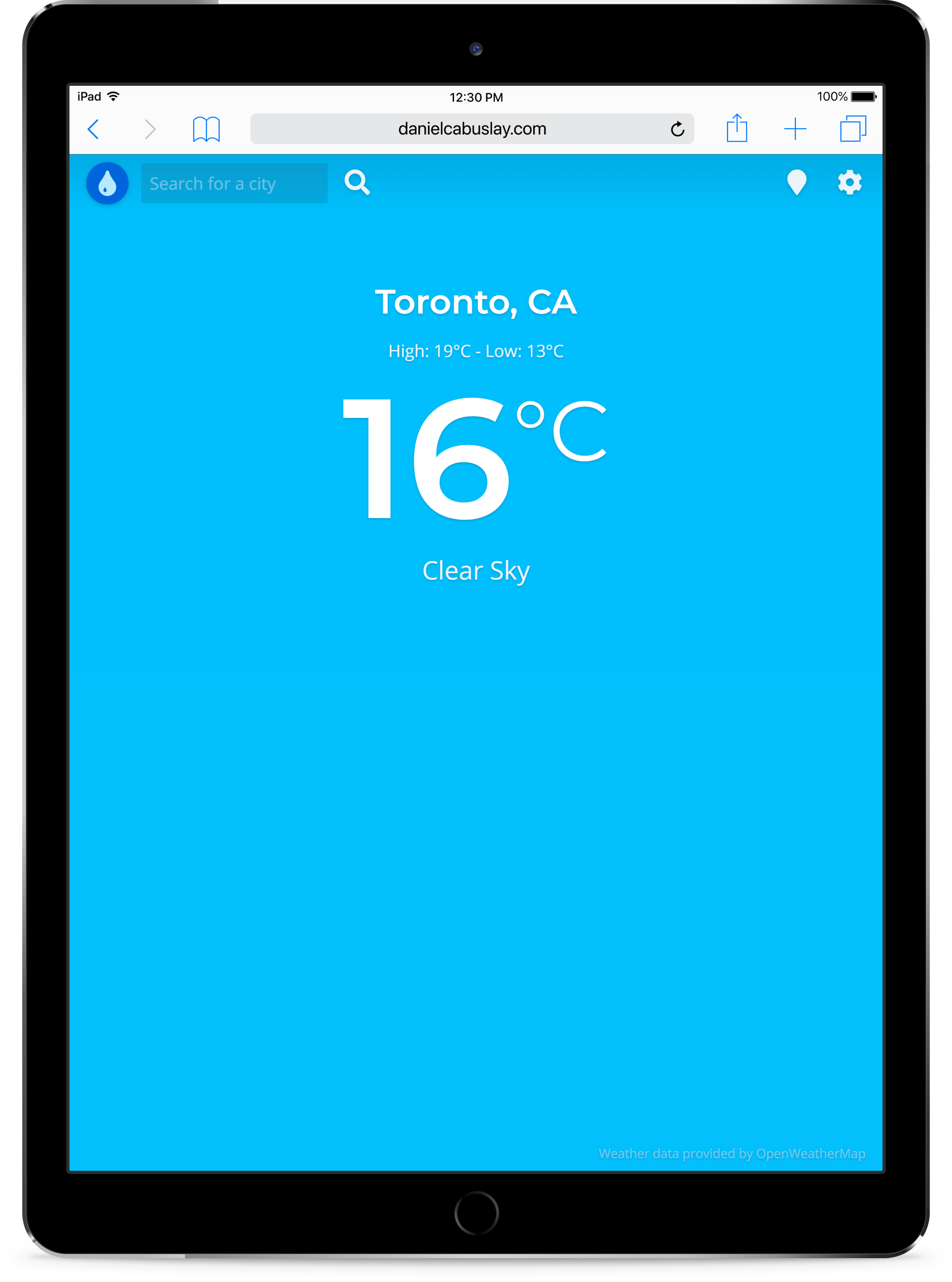 Image of app on a tablet