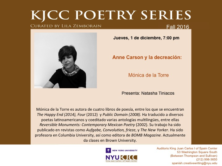 "image from Thursday, Dec 1, 2016 - 7:00 PM KJCC Poetry Series: ""Anne Carson and Decreation"" (4)"