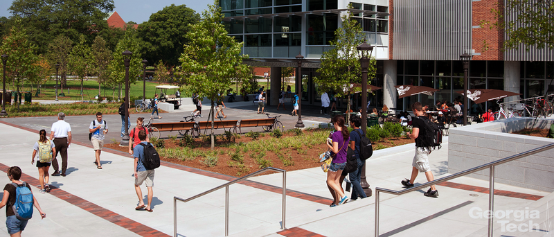 Students walking on the campus of Georgia Tech