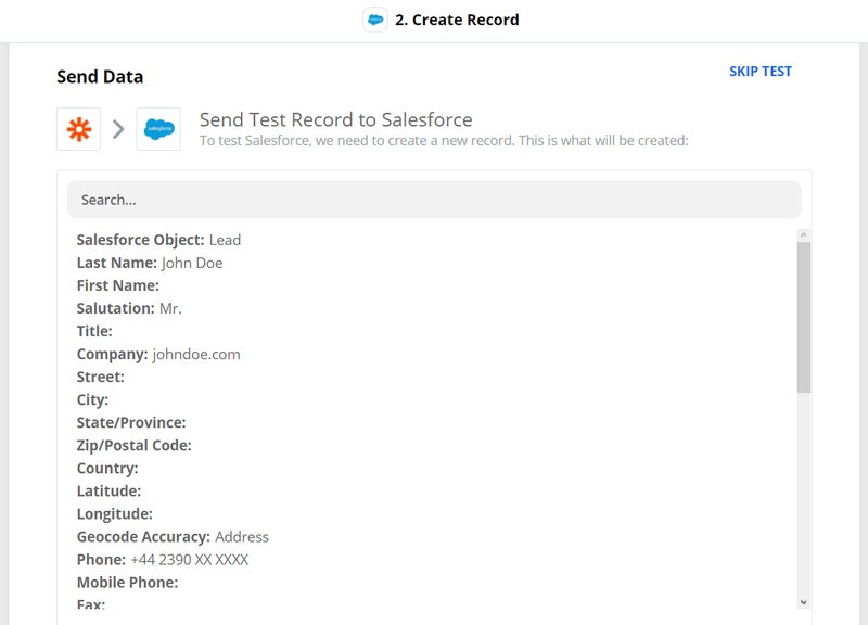 Send test from Zapier to Salesforce
