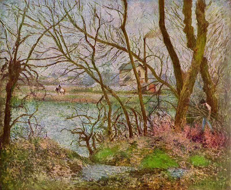 Pissarro's Bords de l'Oise, près de Pontoise, temps gris, painted in 1878