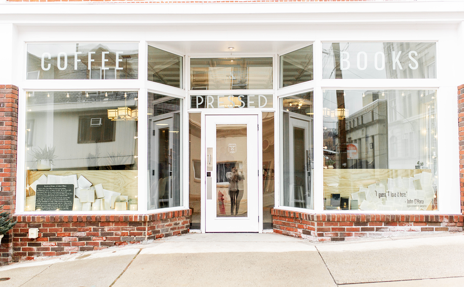 the entrance of pressed coffee and books