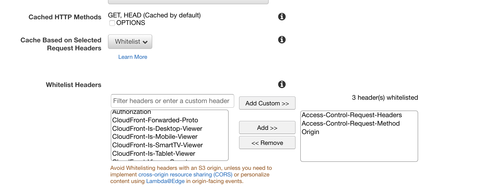 AWS CloudFront Behavior Screenshot
