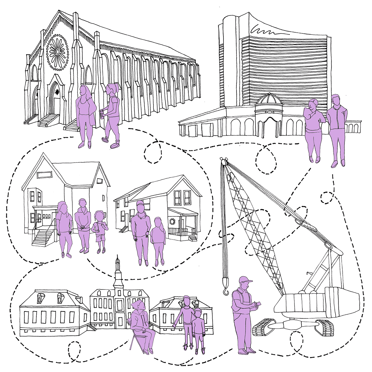 Line drawing with 5 different vignettes (a church, the Everett Casino, houses, government buildings, and a construction crane). People representing neighborhood residents and construction workers stand in front of each vignette. A dotted line connects the people to each other, representing connections of power.