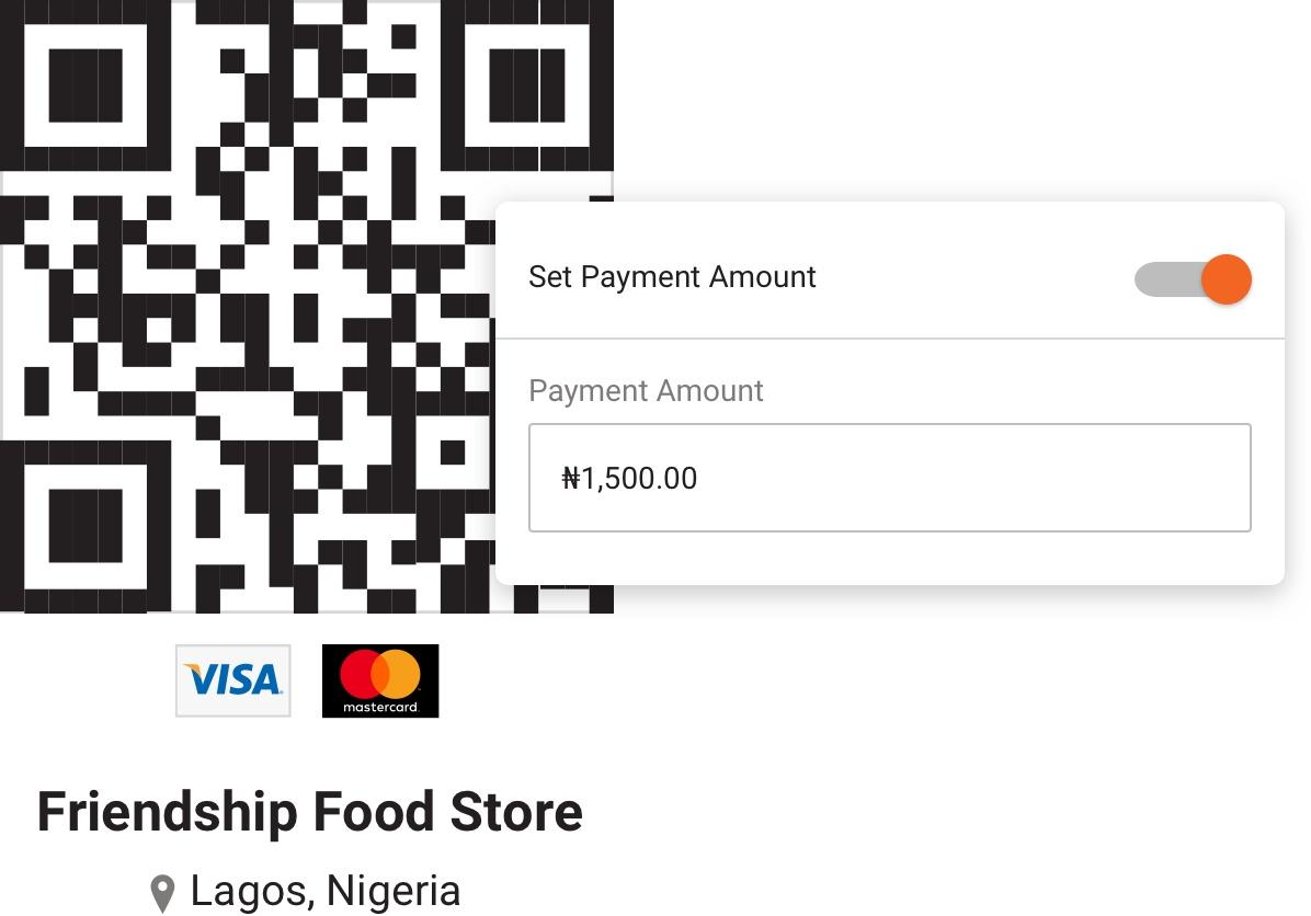 Screenshot of Paga mobile app QR code
