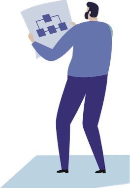 guy holding a project map vector drawing