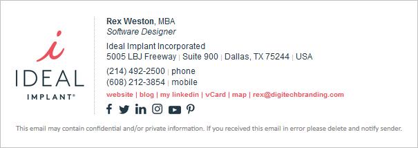 revised email signature design concept