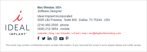 revised email signature design concept