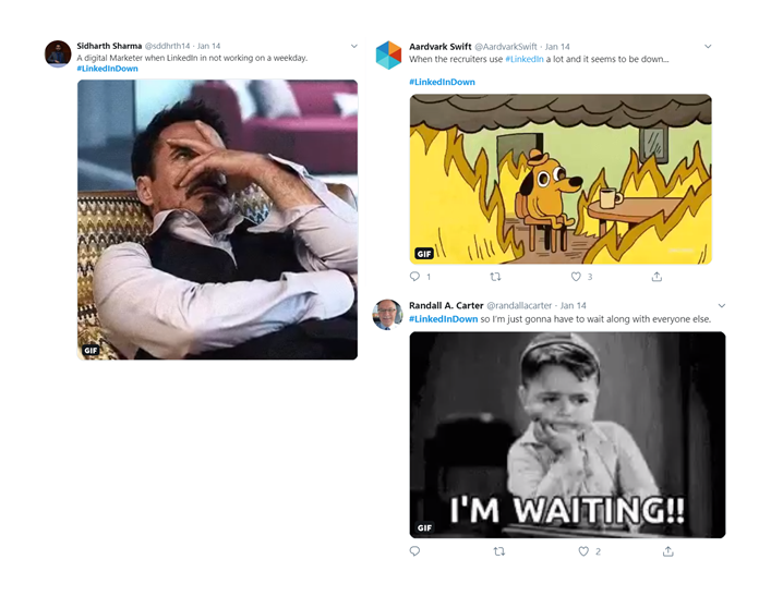 Twitter memes during LinkedIn downtime