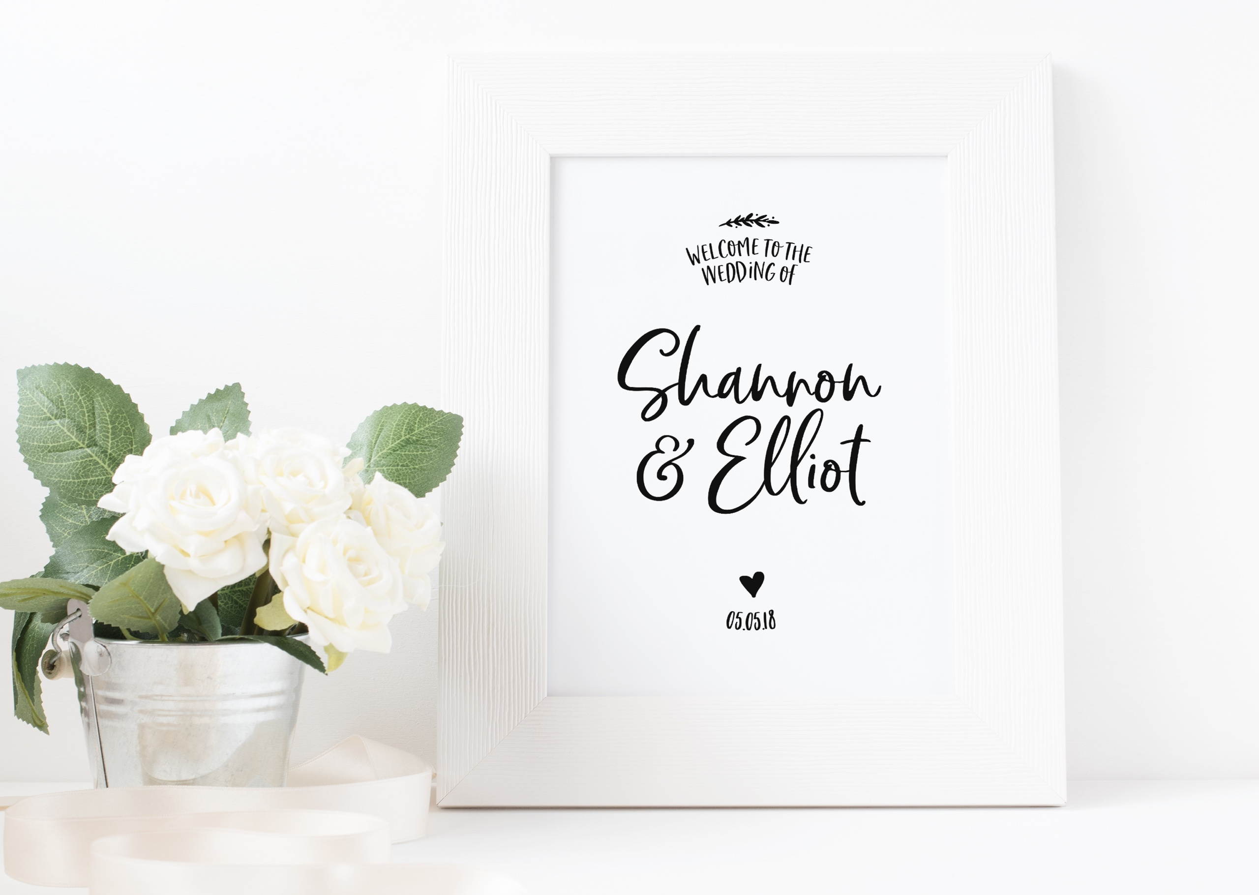 Bespoke wedding welcome sign design for Shannon and Elliot