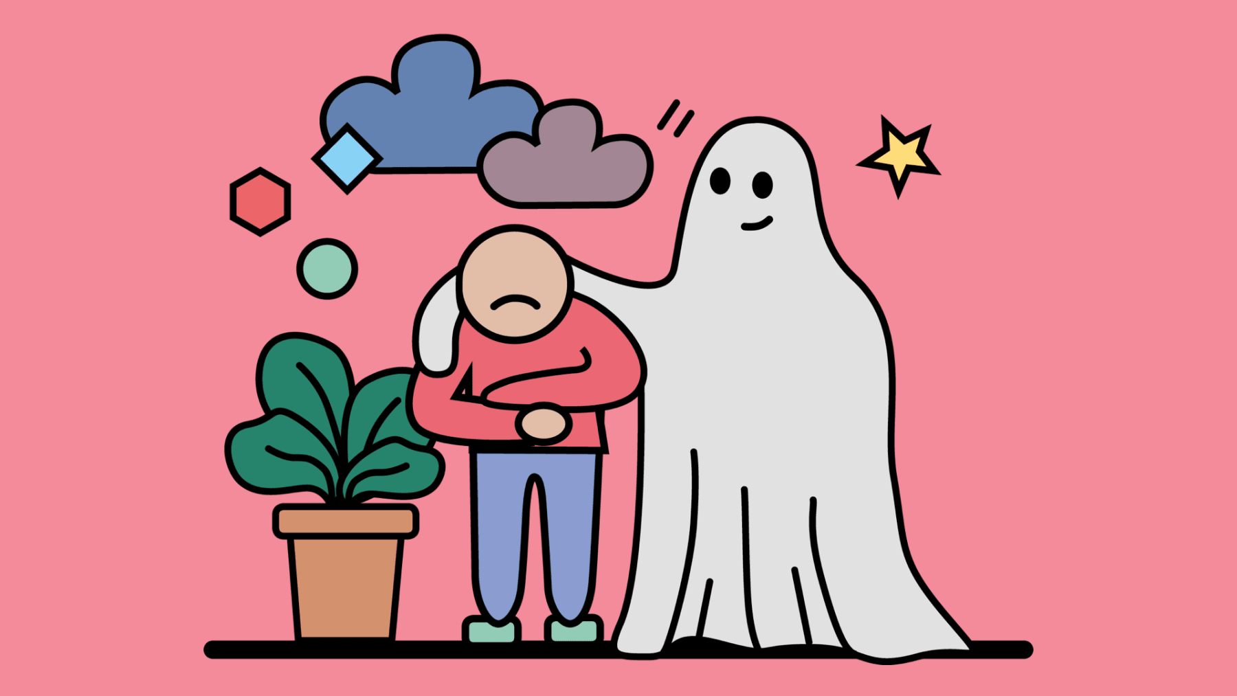 Eine Person, die sich wie ein Gespenst unsichtbar mache