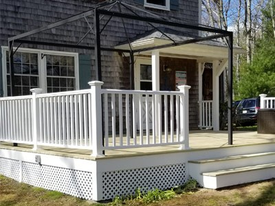 Outdoor living construction services such as deck, porch, fencing, and retainer wall installation by MDH Construction in Plymouth, MA