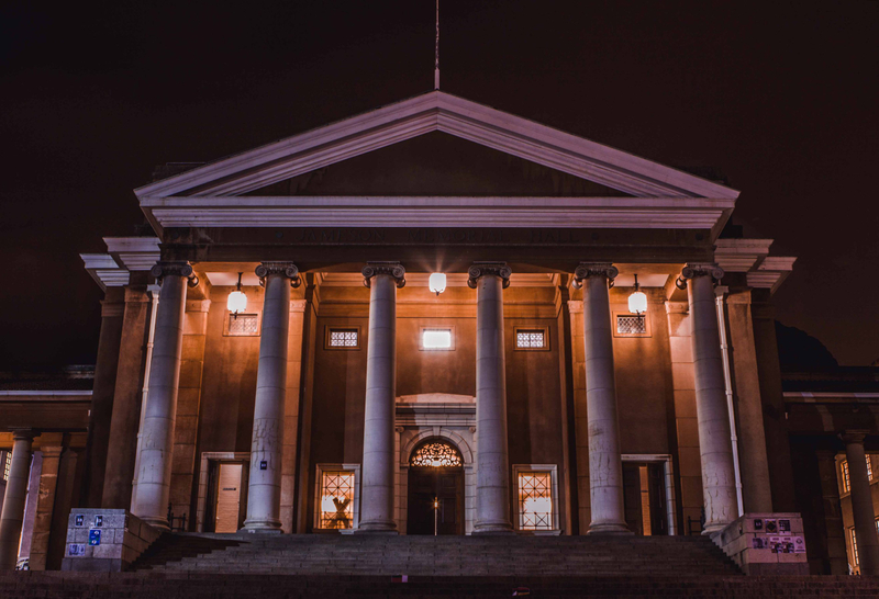 Sarah Baartman Hall at Cape Town University lit up at night
