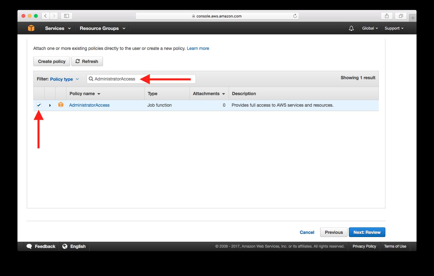 Added Admin Policy Screenshot