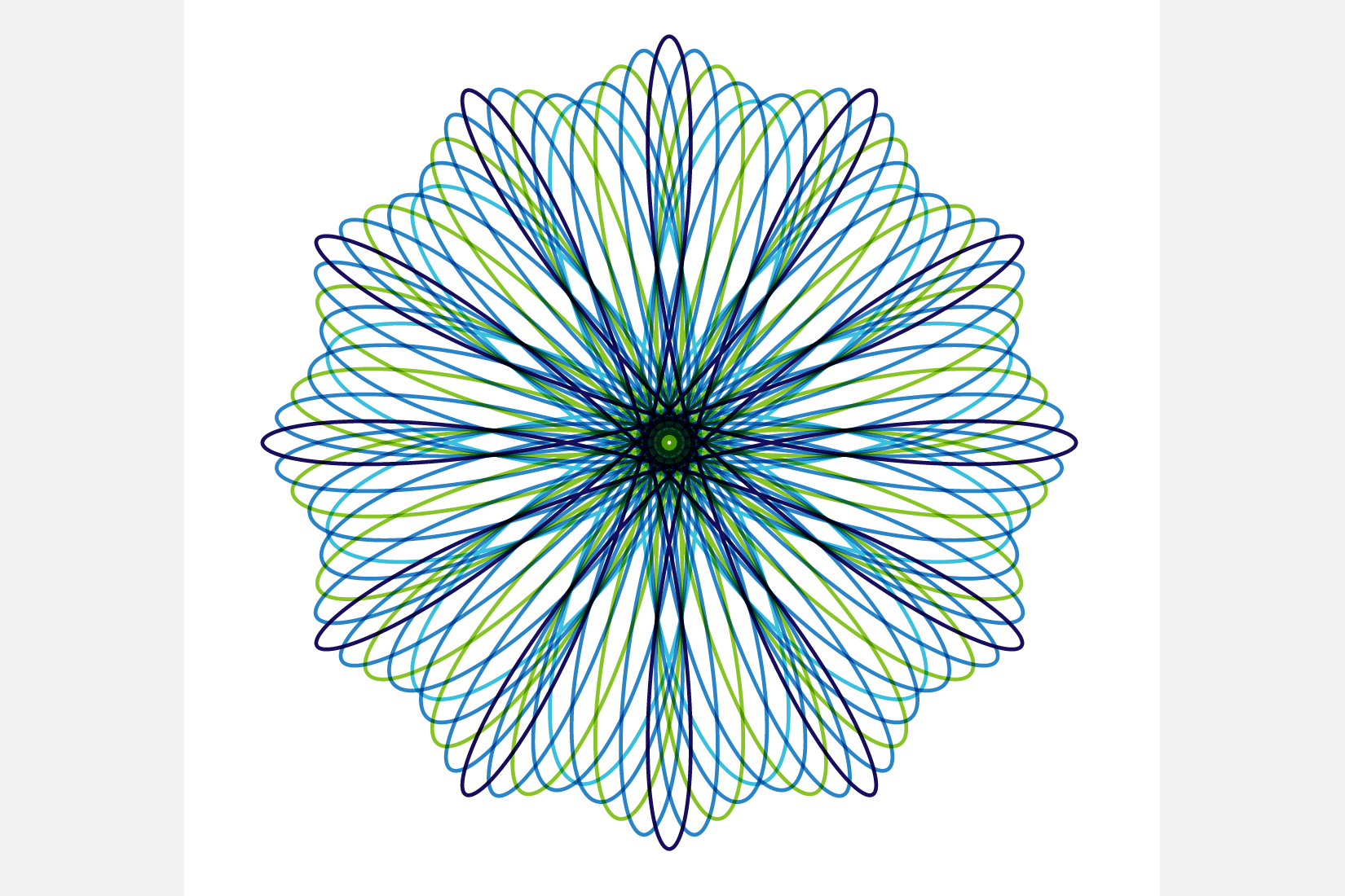 A spirograph from my 'Visualizing the Beauty of Math' presentation