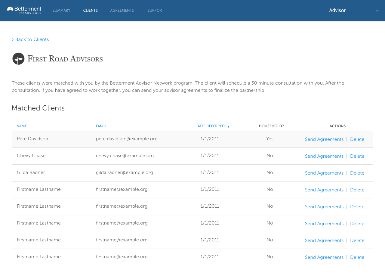 List view of matched clients