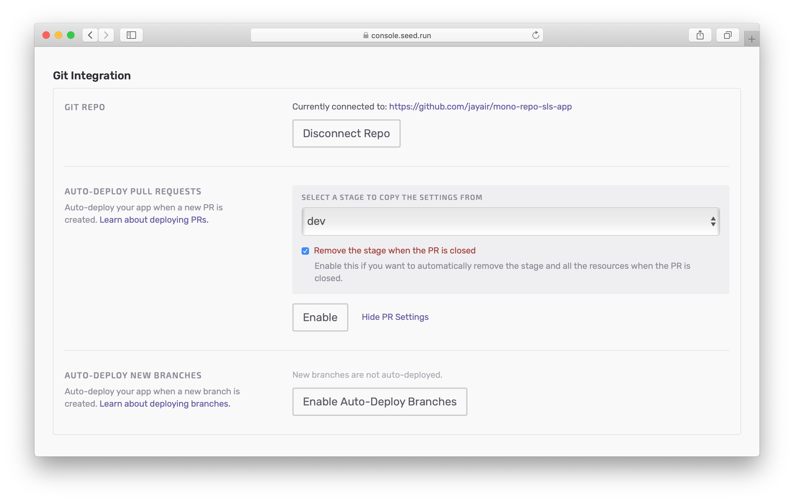 New auto-deploy pull request setting