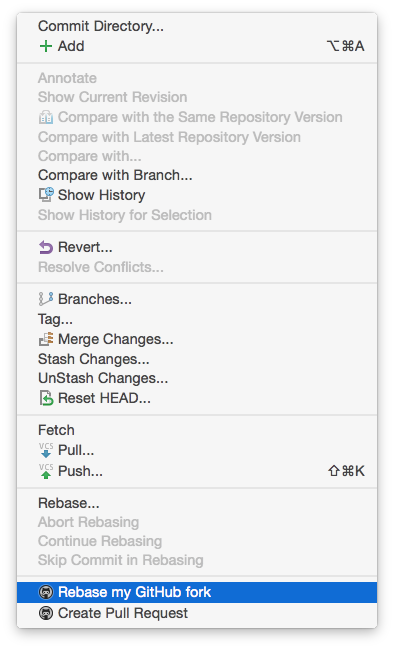 Rebasing a forked repository in PhpStorm using the VCS menu.