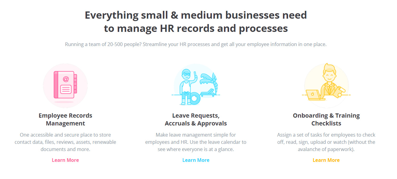 SaaS Landing Page Tips with Josh Garofalo: Screenshot of HR Partner's features