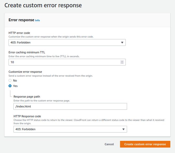 CloudFront Integration Create Custom Error Response