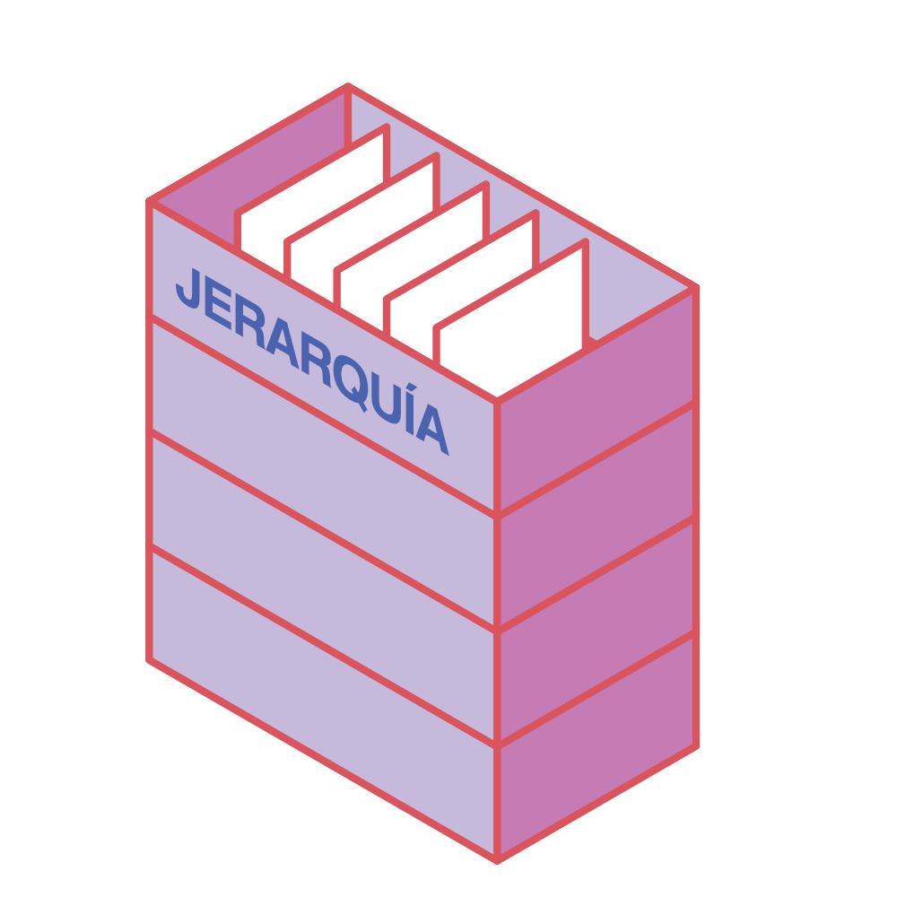 La relación de jerarquía representada como fichas en una carpeta