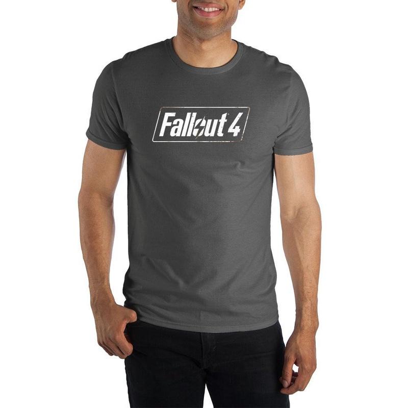Fallout 4 Logo Men's Charcoal  T-Shirt Wear