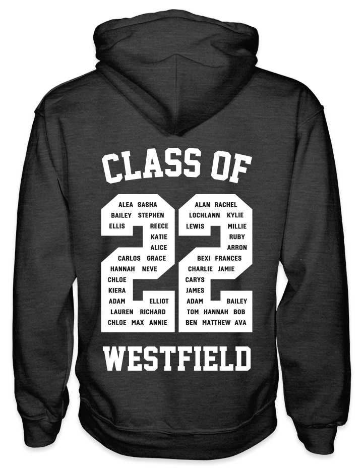 leavers hoodies solid white background design with class of printed across shoulders, names in a number 22, school name printed at the bottom