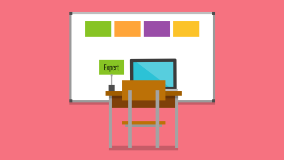 Illustration of a desk with a chair and open laptop. A green card labeled 'Expert' is placed on the desk. In the background is a whiteboard with four cards attached in different colors