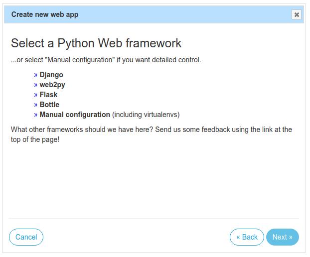 Create new Python web app