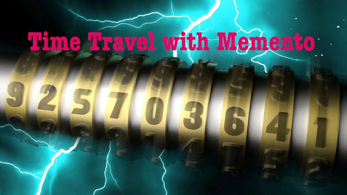 """Lightning in the background with a big combination lock in the foreground. The picture is titled """"Time Travel with Memento""""."""