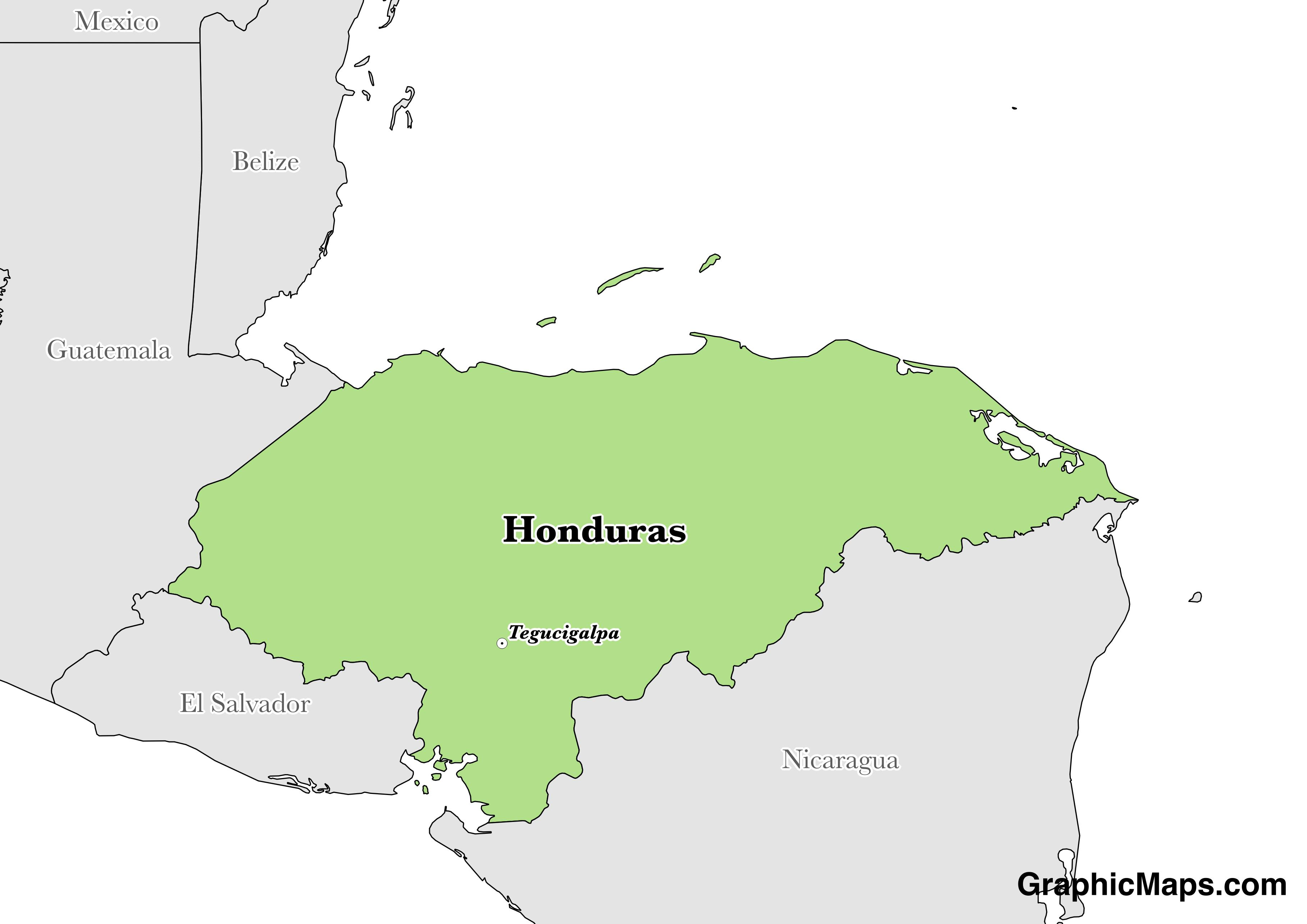 Map showing the location of Honduras