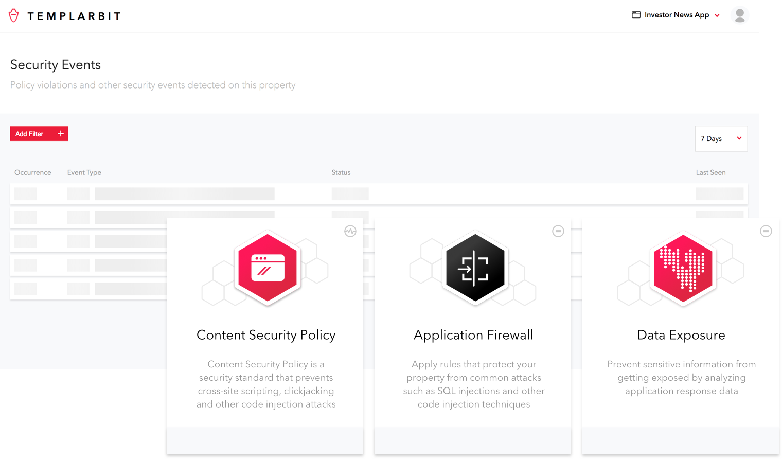 Image that shows security events in the Templarbit dashboard