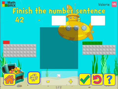 Add and subtract within 100 with brix (unknowns anywhere) Math Game