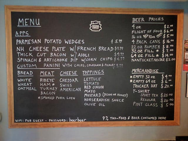 Shacketts Brewing Company Menu