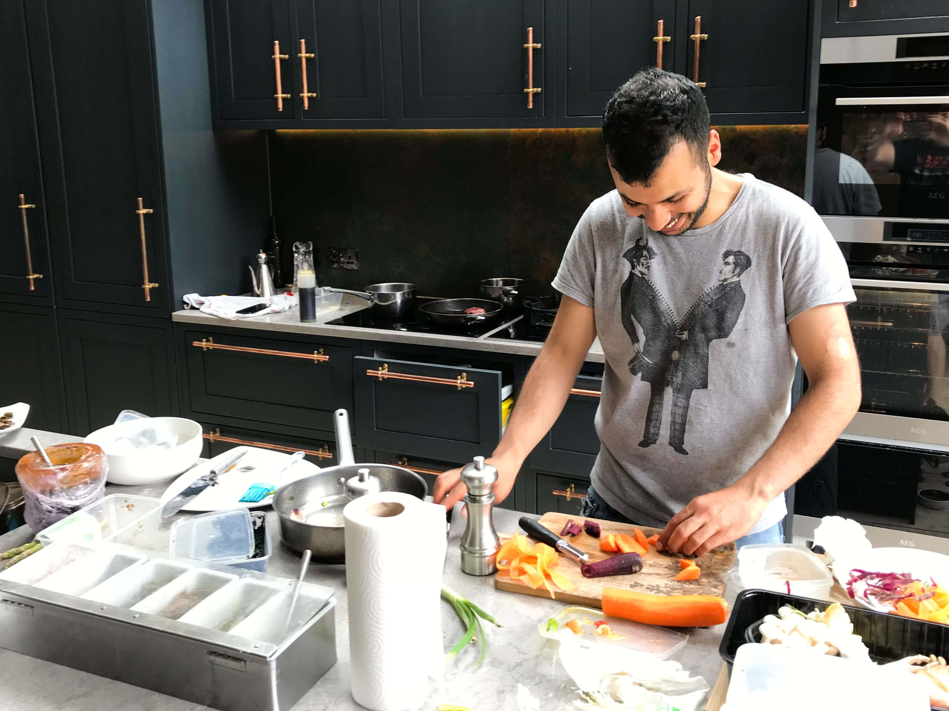 Mustapha Mouflih from Anima & Cuore in Kentish Town prepping for a photo shoot in the studio kitchen.