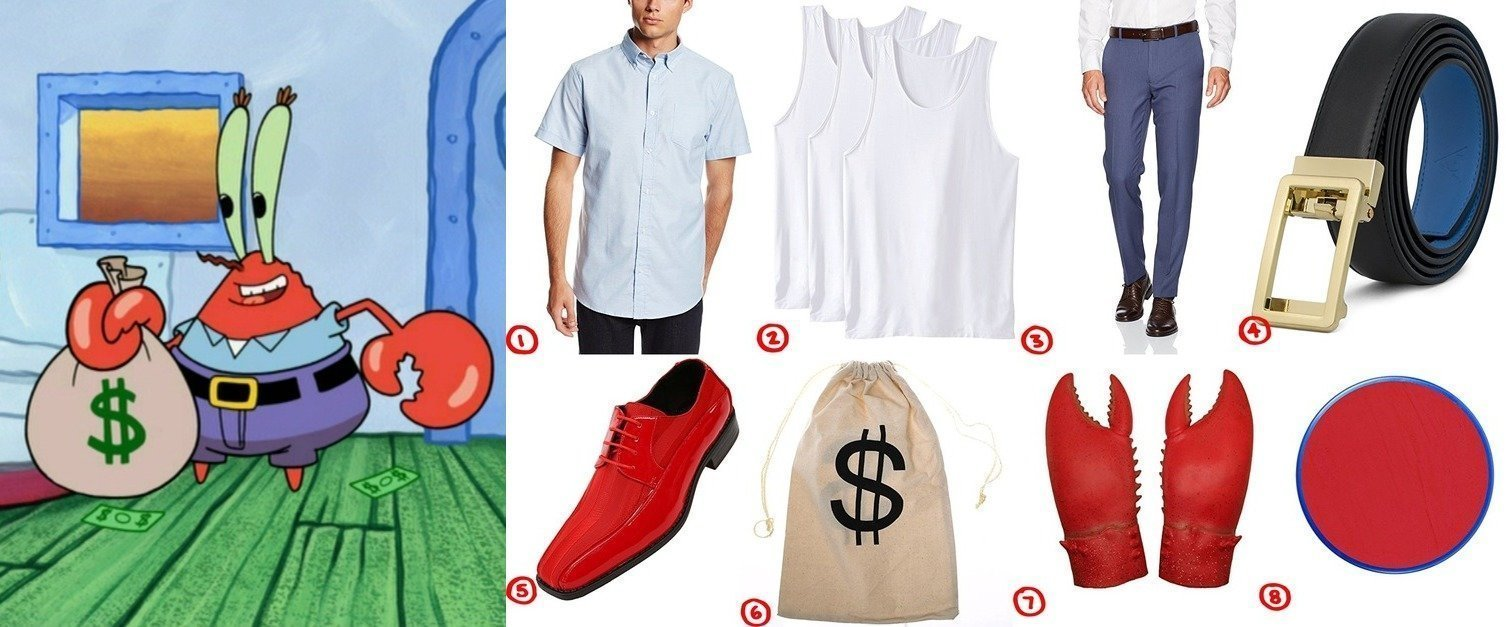 dress like mr krabs spongebob squarepants costume for cosplay