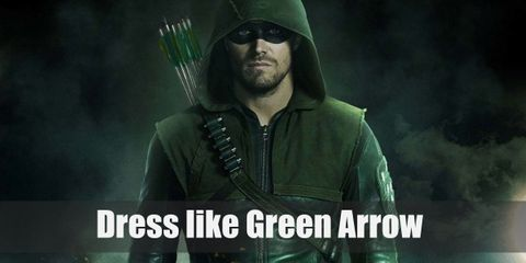 Green Arrow wears his own iconic hooded jacket, tight black pants, black tactical boots, and an eye mask to hide his identity. Don't for get to bring along a bow and a quiver of arrows!